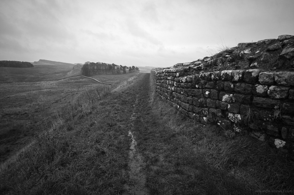 hadrians wall northumberland raining hard november