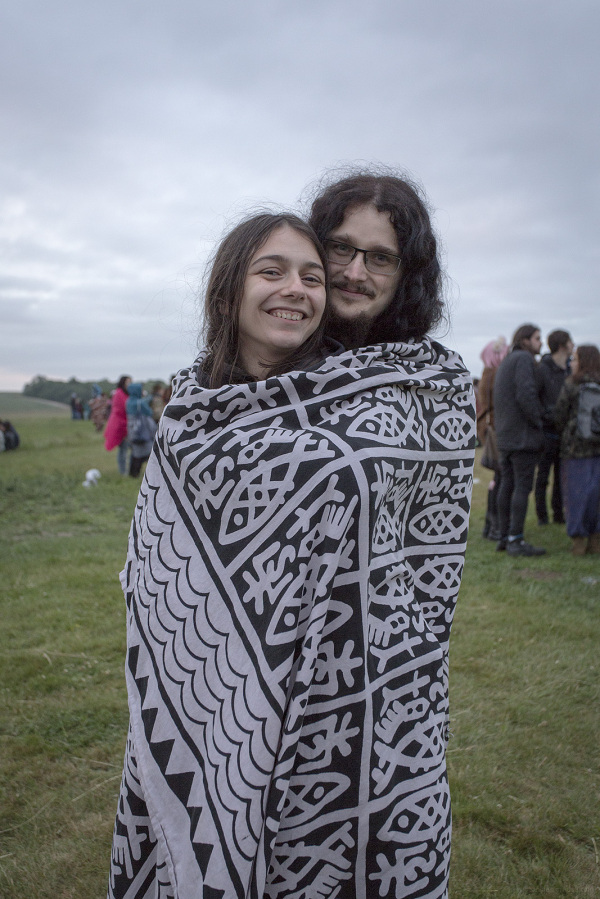 Hippy Couple at Stonehenge after Dawn