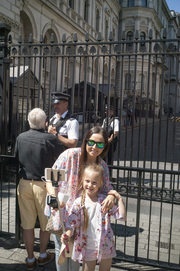 A Child takes a Selfie at Downing Street