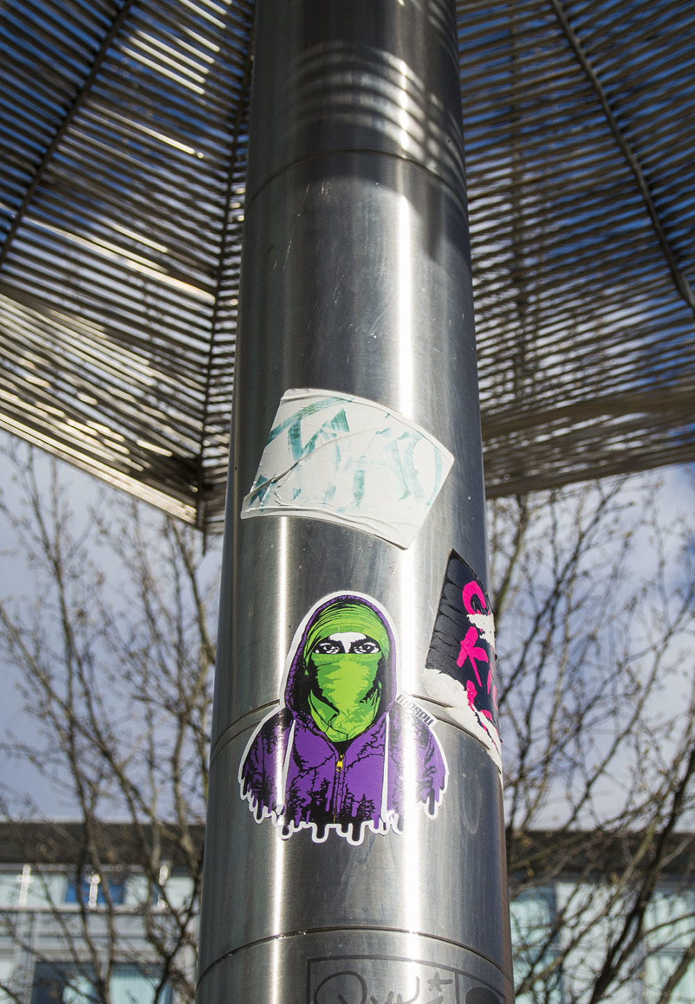 mask green purple nottingham sticker