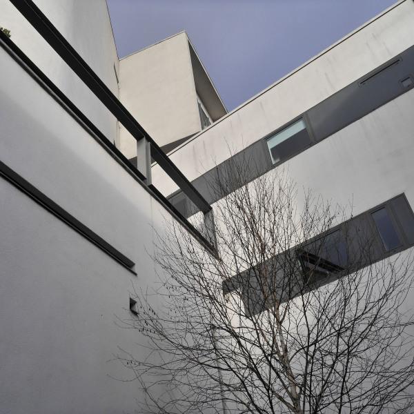 modern concrete whitewash lines shapes hotel