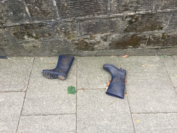 discarded wellie boots belper