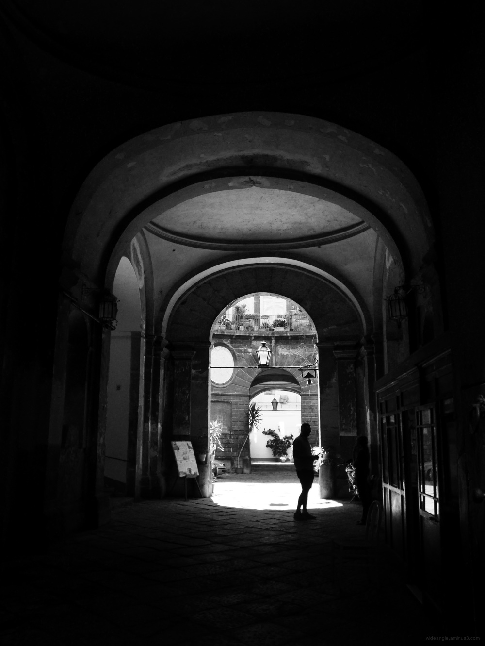 naples city streets casual light b&w