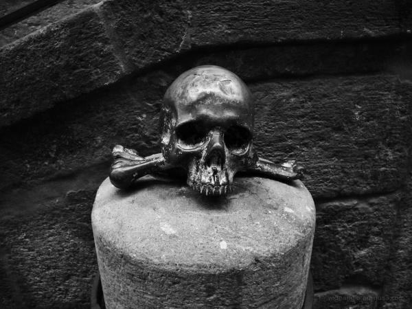 Brass Skull outside a Church, Naples
