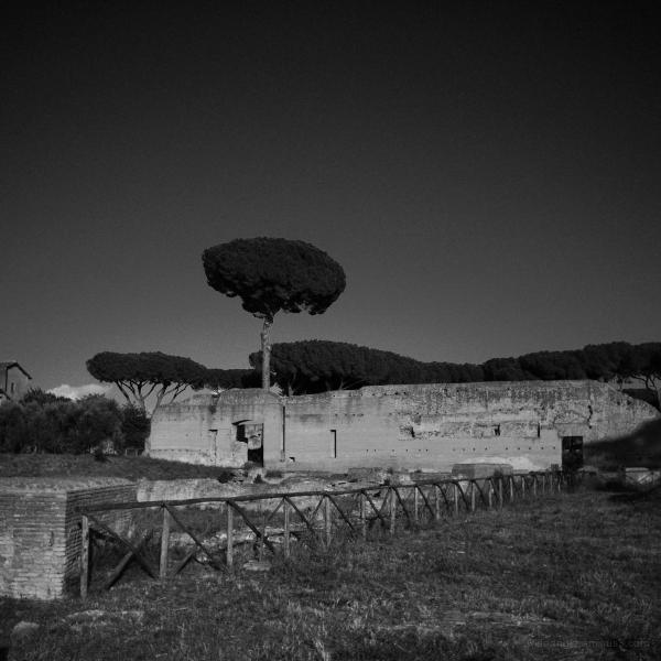 rome city antiquities b&w