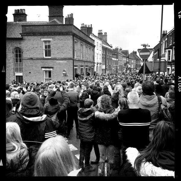 Ashbourne Shrovetide   Ball stuck in the Town