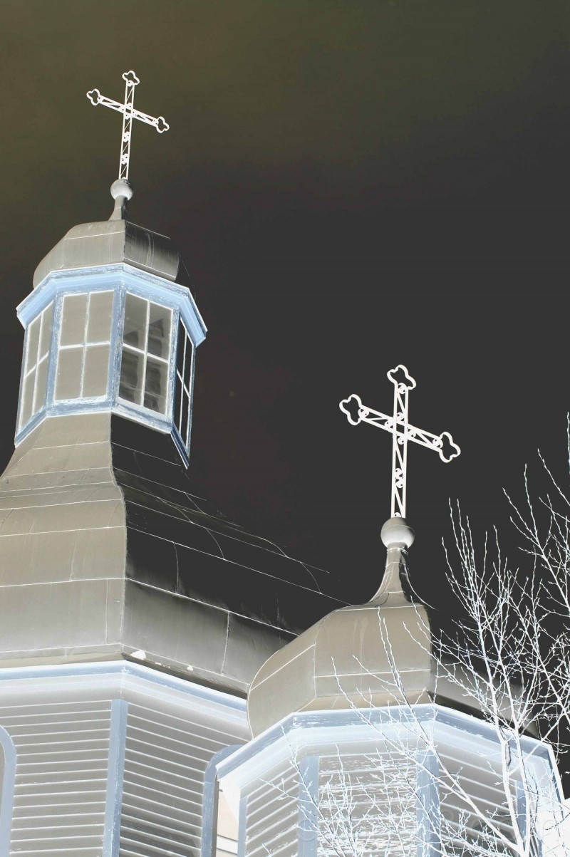 greek orthodox church crosses domes