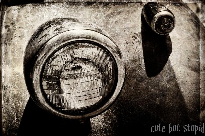 headlights black and white sepia