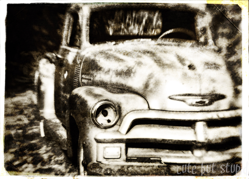 layered textured image old car cute but stupid