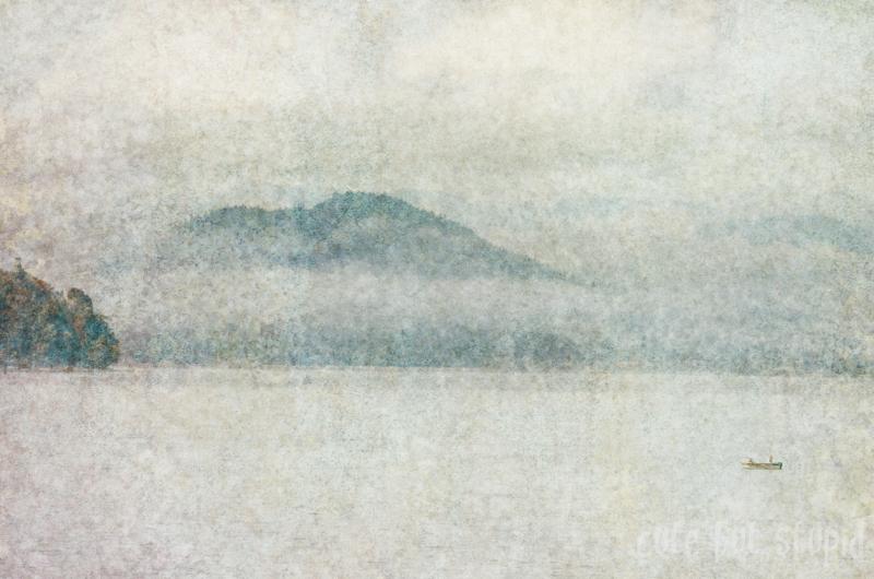 fog over vancouver island's georgia strait