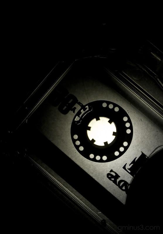 An abstract shot of a cassette tape