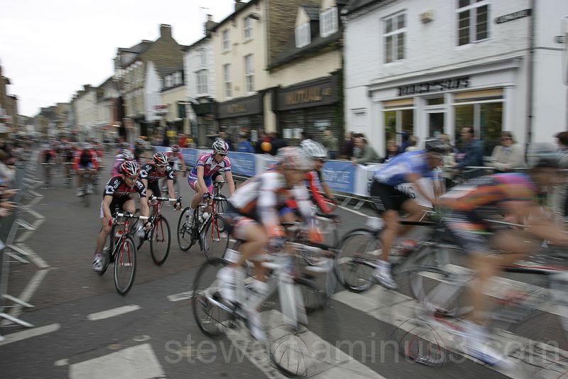 Cyclists race through Peterborough, England