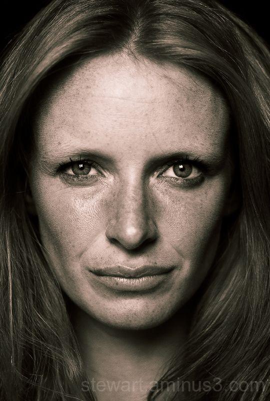 A close-up portrait of a model's face