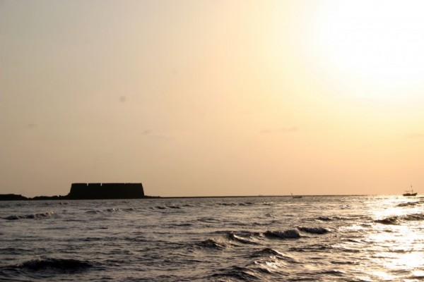 Fort and Boat - Alibagh Fort in the evening