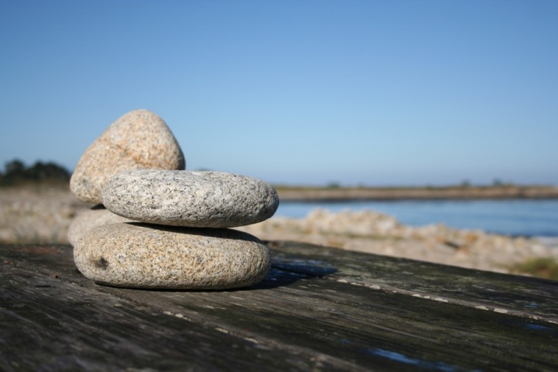 Stones on a Bench by the Sea on 17-mile Drive
