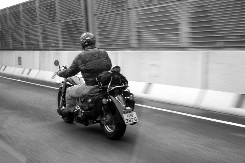 Bike rider on the highway in Hong Kong!
