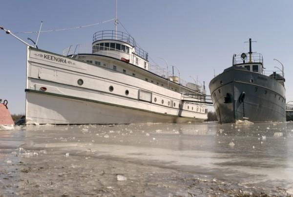 Ice-locked Selkirk Marine Museum Boats frozen ice