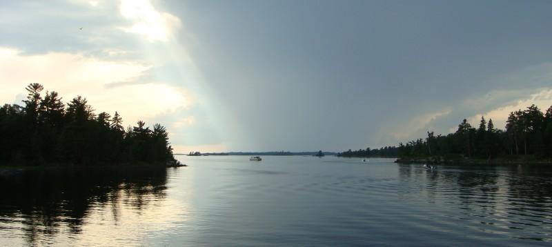 hot karl bay ontario canada lake boats nature