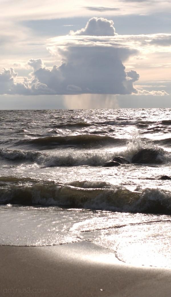 lake winnipeg victoria beach canada rain clouds
