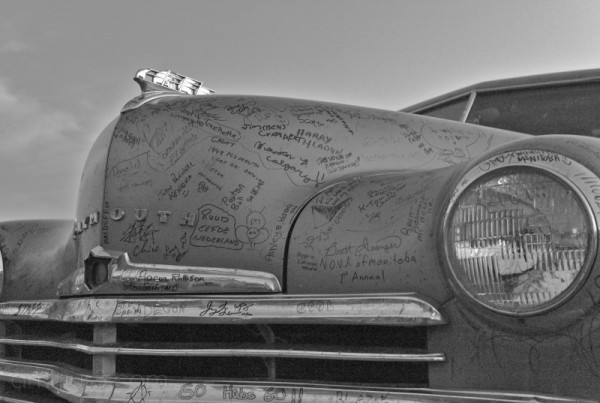 vintage plymouth car covered in autographs winnipe
