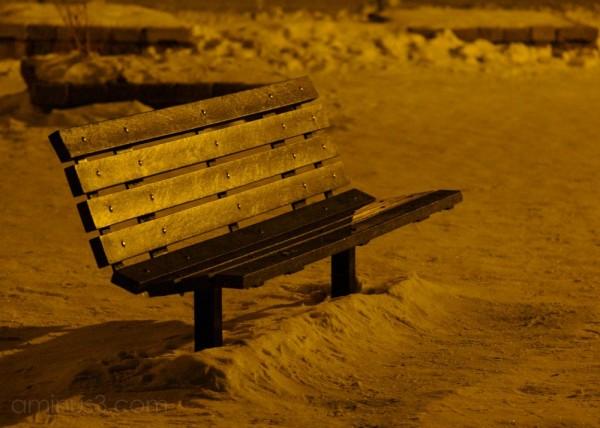 park bench winter winnipeg canada