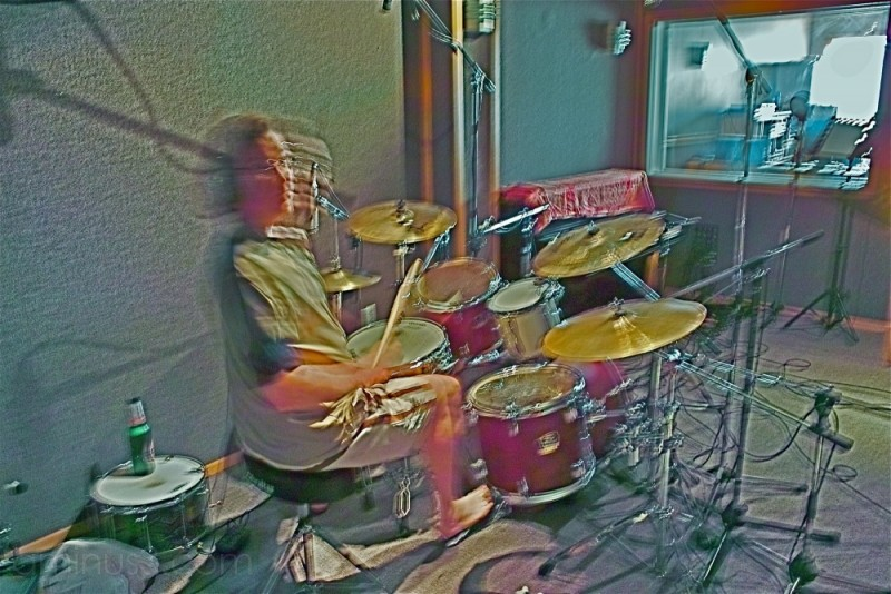 drummer records in studio
