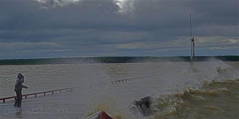 victoria beach  pier storm