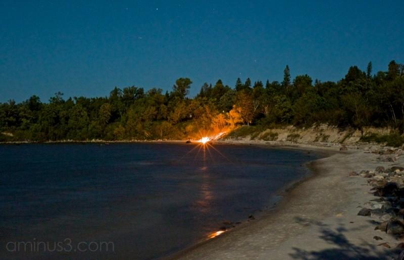beach bonfire victoria beach manitoba canada