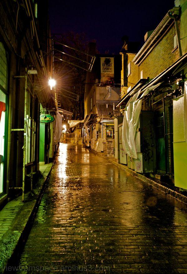 rain empty streets quebec city canada