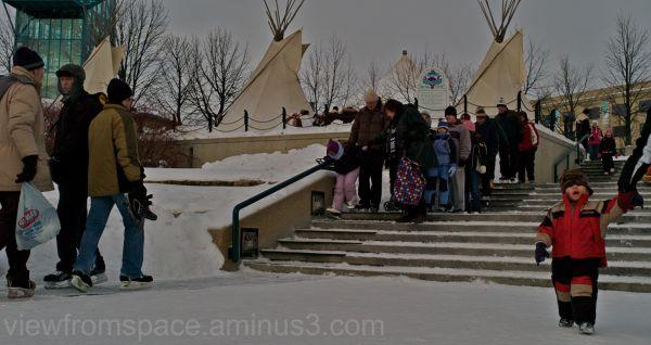 forks winnipeg pedestrians winter canada