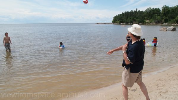 dad lake football toss lake winnipeg canada