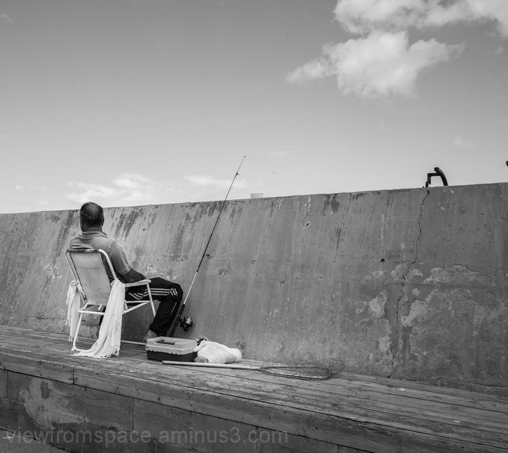 gimli harbour wall fishing lake winnipeg canada