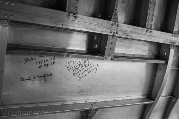 vintage bomber inside walls airmen messages winnip