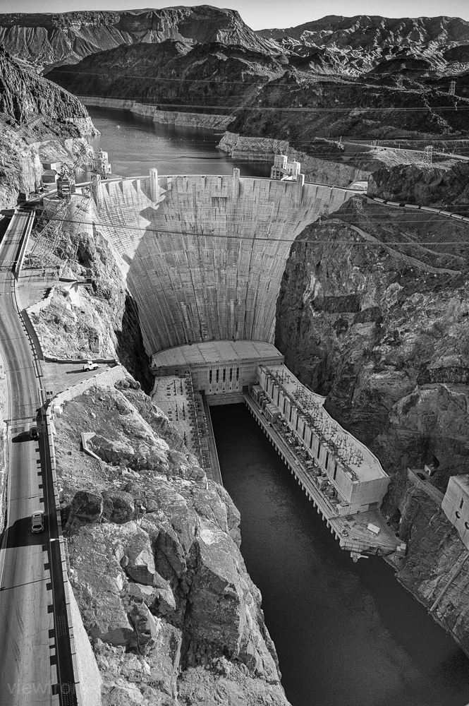hoover dam in black & white