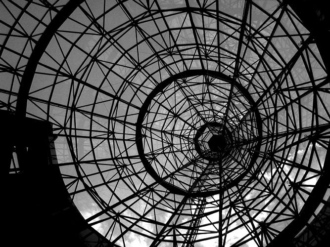 black and white shot of roof structure