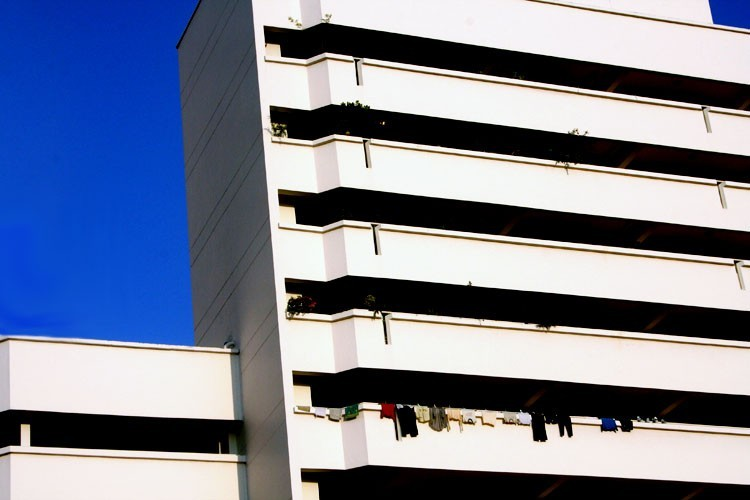 hdb flats clothes in the morning