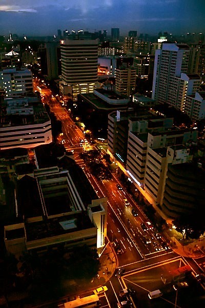 night top view of city road