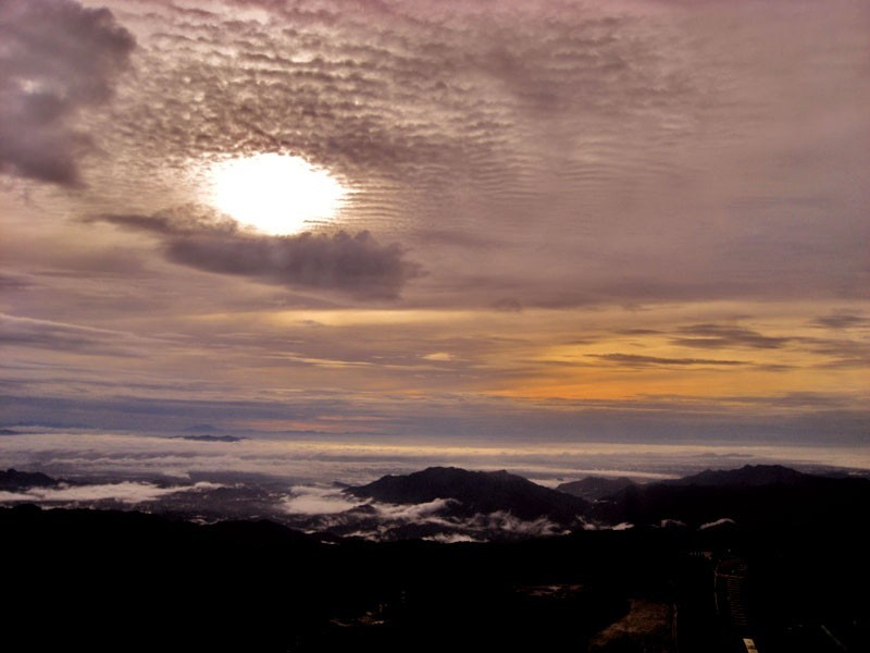 sunrise on mountains at genting