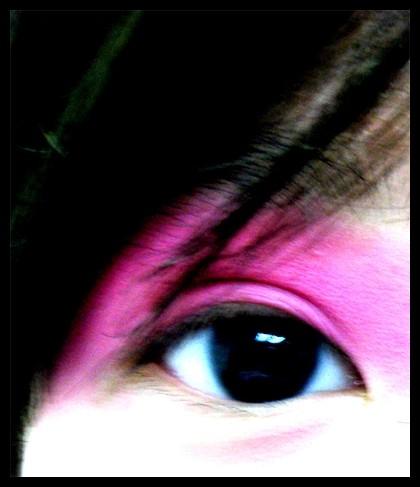 shot of eye with pink eyeshadow