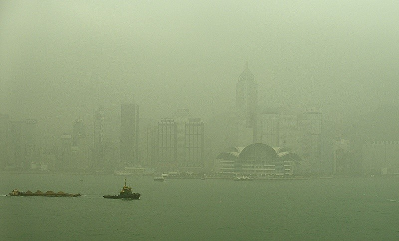 Hong Kong harbour in the Mist