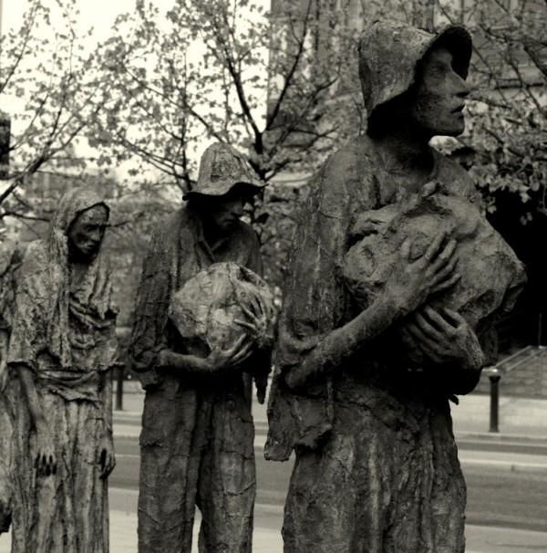 Sculpture commemorating the Irish potato famine