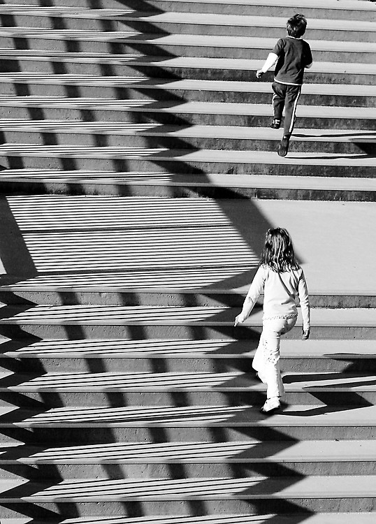 Children climbing stairs
