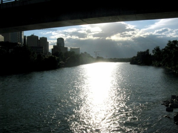 Bow River adjacent to downtown Calgary