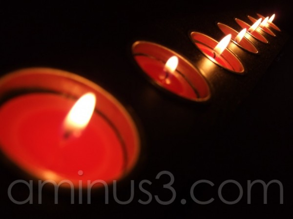 tea lights candles flame red flames