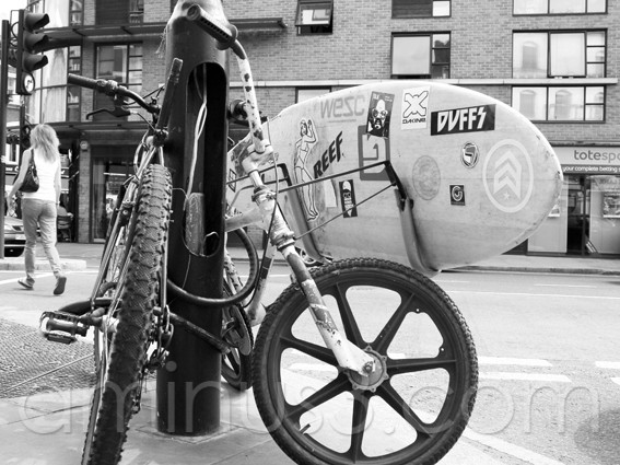 bmx bike surf board london black&white brick lane