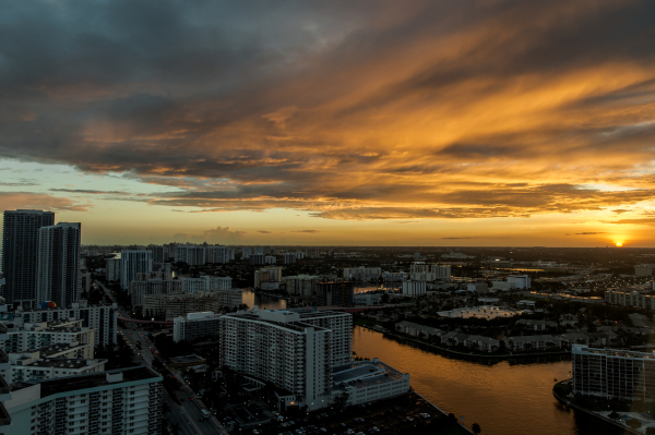 Sunset from my hotel window, Hollywood, FL.