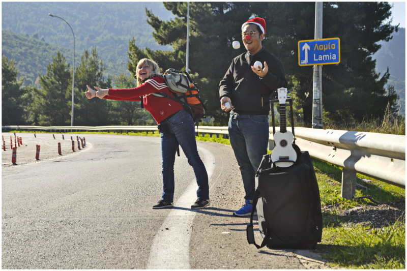 hitchhiking greece road party