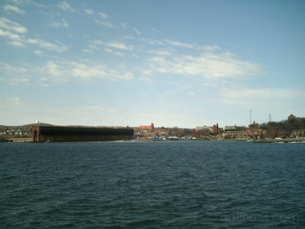 downtown Marquette from Lower Harbor breakwall