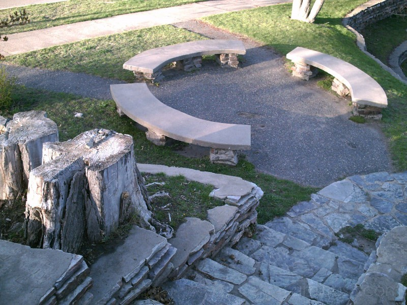 tree stumps and benches at parkview park