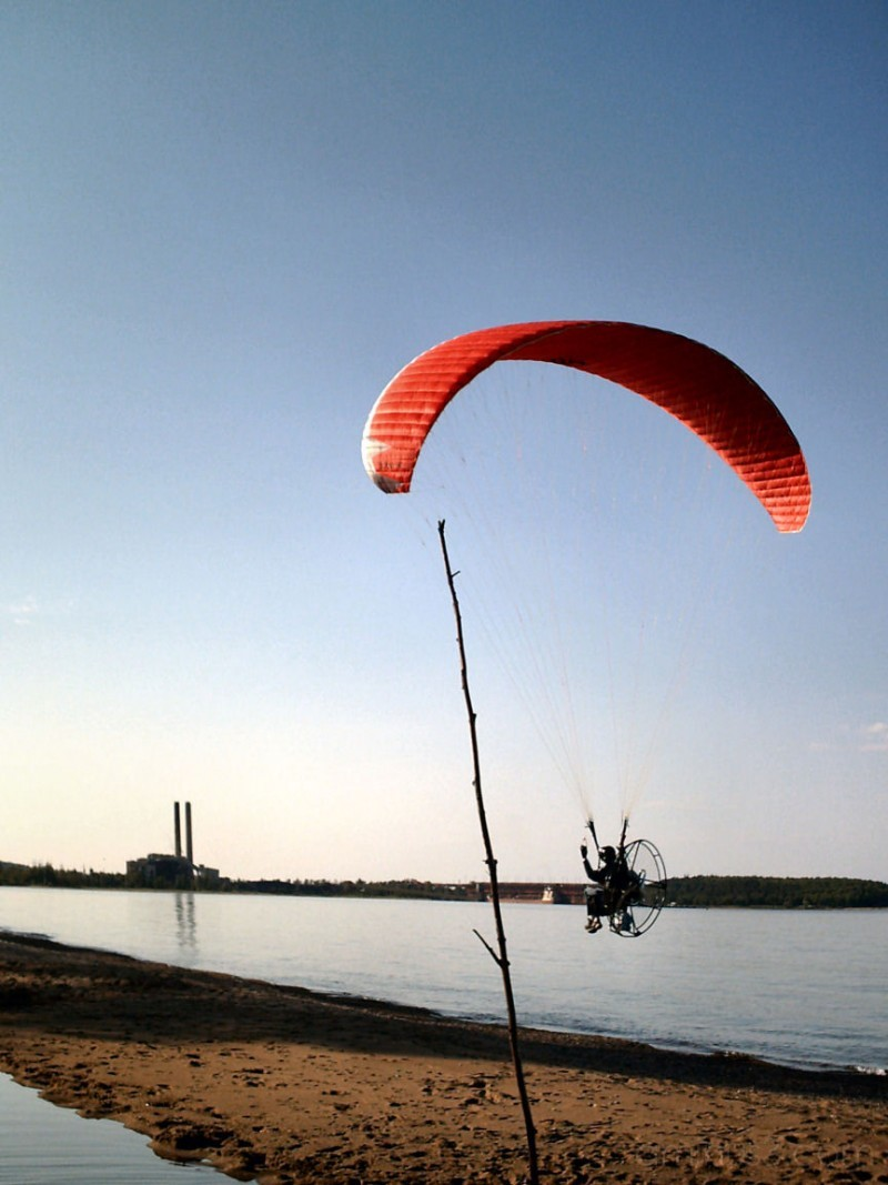 powered parachute going